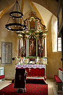 The Gothic Altar of the 14th Century Axente Sever Fortified Church, Transylvania. .<br /> <br /> Visit our ROMANIA HISTORIC PLACXES PHOTO COLLECTIONS for more photos to download or buy as wall art prints https://funkystock.photoshelter.com/gallery-collection/Pictures-Images-of-Romania-Photos-of-Romanian-Historic-Landmark-Sites/C00001TITiQwAdS8<br /> .<br /> Visit our MEDIEVAL PHOTO COLLECTIONS for more   photos  to download or buy as prints https://funkystock.photoshelter.com/gallery-collection/Medieval-Middle-Ages-Historic-Places-Arcaeological-Sites-Pictures-Images-of/C0000B5ZA54_WD0s