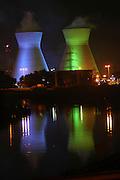 Israel, Haifa bay, The oil refinery, night shot