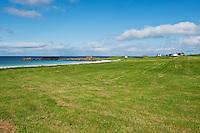Coastal farmland and scenic beach, Gimsøya, Lofoten islands, Norway