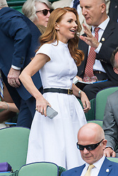 © Licensed to London News Pictures. 05/07/2019. London, UK.  Geri Horner watches centre court tennis in the royal box on Day 5 of Wimbledon Tennis Championships 2019 held at the All England Lawn Tennis and Croquet Club. Photo credit: Ray Tang/LNP