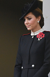 The Duchess of Cambridge during the remembrance service at the Cenotaph memorial in Whitehall, central London, on the 100th anniversary of the signing of the Armistice which marked the end of the First World War.