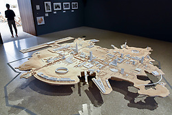 """© Licensed to London News Pictures. 12/09/2018. LONDON, UK. An architectural model showing several of the architect's greatest designs at a preview of """"Renzo Piano: The Art of Making Buildings"""", an exhibition of works by the internationally renowned architect and Honorary Royal Academician Renzo Piano.  An overview of 16 of his most significant projects are on display in an exhibition which runs 15 September to 20 January 2019 at the Royal Academy of Arts in Piccadilly.  Photo credit: Stephen Chung/LNP"""