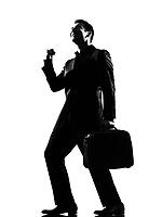 silhouette caucasian business man  expressing happy joy winning behavior full length on studio isolated white background