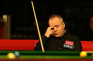 John Higgins of Scotland reacts during his 1st round match against Sam Baird of England . Coral Welsh Open Snooker 2017, day 1 at the Motorpoint Arena in Cardiff, South Wales on Monday 13th February 2017.<br /> pic by Andrew Orchard, Andrew Orchard sports photography.