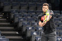 October 28, 2018 - Paris, France - JO-WILFRIED TSONGA of France practices in advance of the Rolex Paris Masters tennis tournament in Paris France. (Credit Image: © Christopher Levy/ZUMA Wire)