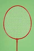 close up of a badminton racket