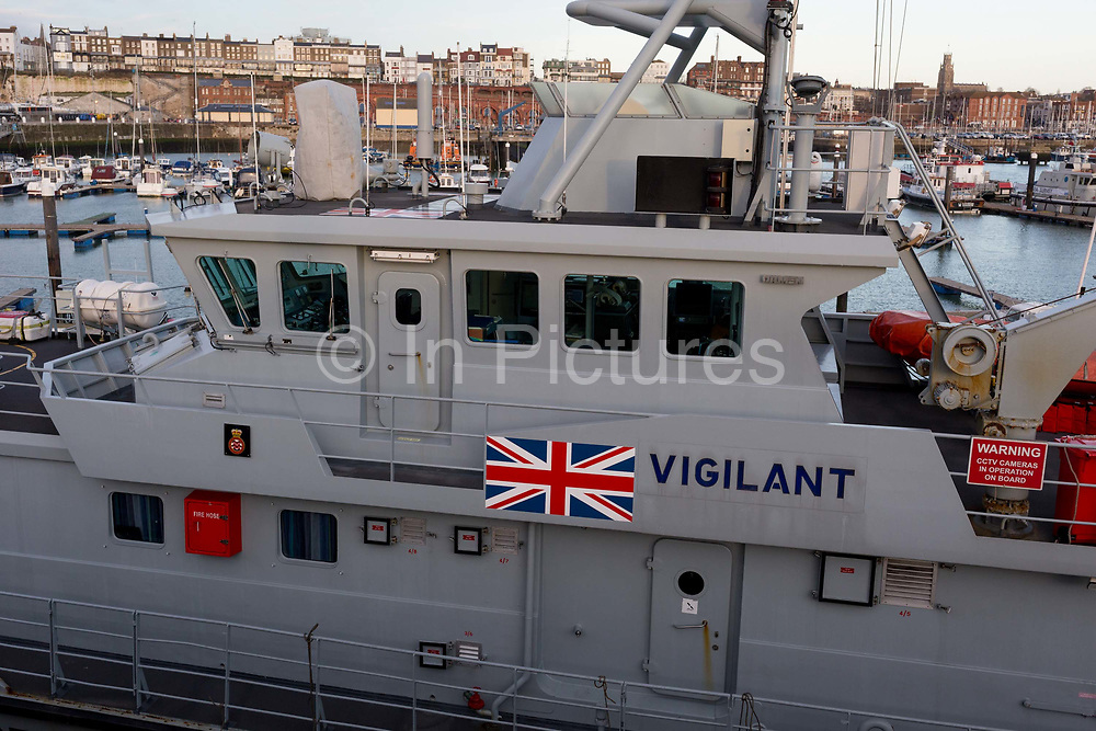 Docked after night-time interceptions of migrant inflatables from the French coast via the English Channel is the UK Border Forces cutter HMC Vigilant in Ramsgate Harbour, on 8th January 2019, in Ramsgate, Kent, England. The Port of Ramsgate has been identified as a Brexit Port by the government of Prime Minister Theresa May, currently negotiating the UKs exit from the EU. Britains Department of Transport has awarded to an unproven shipping company, Seaborne Freight, to provide run roll-on roll-off ferry services to the road haulage industry between Ostend and the Kent port - in the event of more likely No Deal Brexit. In the EU referendum of 2016, people in Kent voted strongly in favour of leaving the European Union with 59% voting to leave and 41% to remain.