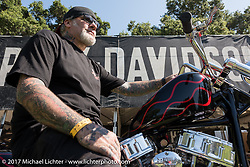 Chopper Dave at the Born Free 9 Motorcycle Show. Costa Mesa, CA. USA. Friday June 23, 2017. Photography ©2017 Michael Lichter.