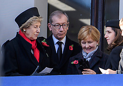 © Licensed to London News Pictures. 13/11/2016. London, UK.  NORMA MAJOR, wife of John Major, PHILIP MAY, husband of Theresa May and MARINA WHEELER, wife of Boris Johnson, attend a Remembrance Day Ceremony at the Cenotaph war memorial in London, United Kingdom, on November 13, 2016 . Thousands of people honour the war dead by gathering at the iconic memorial to lay wreaths and observe two minutes silence. Photo credit: Ben Cawthra/LNP