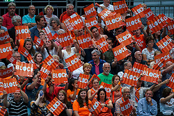 10-08-2019 NED: FIVB Tokyo Volleyball Qualification 2019 / Belgium - Netherlands, Rotterdam<br /> Third match pool B in hall Ahoy between Belgium vs. Netherlands (0-3) for one Olympic ticket / Orange support fans block