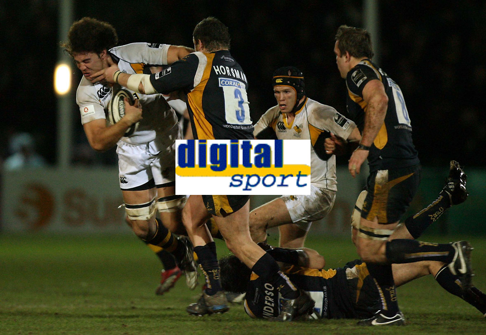 Photo: Rich Eaton.<br /> <br /> Worcester Rugby v London Wasps. Guinness Premiership. 26/01/2007. Dan Leo of Wasps left is tackled by Chris Horsman of Worcester #3