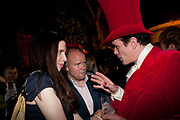 TALITHA STEVENSON;  TOBY YOUNG; SEBASTIAN HORSLEY, First night party for Dandy In The Underworld which opened at the  Soho Theatre, 21 Dean Street. House Of St Barnabas, 1 Greek Street, 15 June 2010. -DO NOT ARCHIVE-© Copyright Photograph by Dafydd Jones. 248 Clapham Rd. London SW9 0PZ. Tel 0207 820 0771. www.dafjones.com.