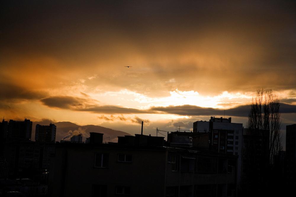 Late-winter sunset over the Grbavica neighborhood of Sarajevo.