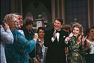 President Ronald Reagan and First Lady Nancy Reagan with Prime Minister Brian Mulroney and  wife Mila Mulroney jokes with the performance cast in the Grand  Theater de Quebec during a state visit to Canada on March 3, 1985<br /><br />Photograph by Dennis Brack