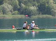 Aiguebelette, FRANCE.  GBR M2- Gold Medallist l Helen GLOVER and Heather STANNING.  2014 FISA World Cup II, 11:10:19  Sunday  22/06/2014. [Mandatory Credit; Peter Spurrier/Intersport-images]