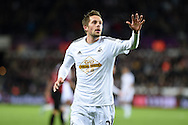 Gylfi Sigurdsson of Swansea city looks on.Barclays Premier league match, Swansea city v Queens Park Rangers at the Liberty stadium in Swansea, South Wales on Tuesday 2nd December 2014<br /> pic by Andrew Orchard, Andrew Orchard sports photography.