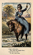 I had a little pony, They called him Dapple Grey; I lent him to a lady To ride a mile away From the book ' A apple pie and other nursery tales : forty-eight pages of illustrations : printed in colours by Kronheim & Co ' Published by  : George Routledge and Sons 1870