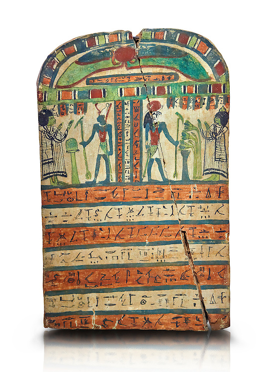Ancient Egyptian voitive stele of Takasu for the Gods Harmakhis and Atun from Thebes. Ancient Egypt 25/26 Dynaty, 630 BC. Neues Museum Berlin Cat No: AM 935. .<br /> <br /> If you prefer to buy from our ALAMY PHOTO LIBRARY  Collection visit : https://www.alamy.com/portfolio/paul-williams-funkystock/ancient-egyptian-art-artefacts.html  . Type -   Neues    - into the LOWER SEARCH WITHIN GALLERY box. Refine search by adding background colour, subject etc<br /> <br /> Visit our ANCIENT WORLD PHOTO COLLECTIONS for more photos to download or buy as wall art prints https://funkystock.photoshelter.com/gallery-collection/Ancient-World-Art-Antiquities-Historic-Sites-Pictures-Images-of/C00006u26yqSkDOM