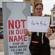 Oxfam Campaigner Ruth Tanner, Head of Humanitarian Campaigns, Oxfam GB delivering the message 'Stop British bombs falling on Yemen' to the Foreign Secretary, Dominic Raab on the 8th of September 2020. On the 7 July 2020 the UK Government through a written statement to Parliament reversed its decision to halt arms licensing to Saudi Arabia and announced that it will not appeal to the Supreme Court.(Photo by Andy Aitchison / Oxfam GB)