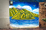 An image of a street mural depicting a green sleeping beauty, under a dark sky, with a volcano in the background