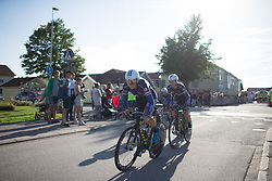 Thea Thorsen of Hitec Products Cycling Team leads her team in the first meters of the Crescent Vargarda - a 42.5 km team time trial, starting and finishing in Vargarda on August 11, 2017, in Vastra Gotaland, Sweden. (Photo by Balint Hamvas/Velofocus.com)