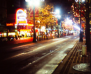 Christmas lights at night on Canal Street, downtown New Orleans, Louisiana, USA  in 1989