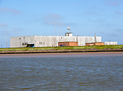 Lady Florence boat trip cruise River Ore, Orford Ness, Suffolk, England BBC World Service radio transmitter building
