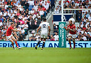 Wales Rhys Priestland feed the ball to Ross Moriarty during the The Old Mutual Wealth Cup match England -V- Wales at Twickenham Stadium, London, Greater London, England on Sunday, May 29, 2016. (Steve Flynn/Image of Sport)