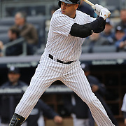 Carlos Beltran, New York Yankees, batting during the New York Yankees V Baltimore Orioles home opening day at Yankee Stadium, The Bronx, New York. 7th April 2014. Photo Tim Clayton