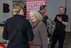 Pictured: Pictured: Inspector Phillipa Boyd chats to a customerr about the new campaign<br />Police Scotland is warning that anyone can be a victim of doorstep crime after householders lost hundreds of thousands of pounds to scammers. <br /><br />The Shut Out Scammers campaign was launched today at the Clydesdale Bank, George Street, Edinburgh.  Chief Superintendent John McKenzie was joined by colleagues from Police Scotland, Clydesdale Bank, Care and Repair Edinburgh, Crime Stoppers and Trading Standards.<br /><br />Ger Harley | EEm 14 APRIL 2019