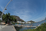 "Rio de Janeiro. BRAZIL.   GENERAL VIEW OF THE START AREA, AT THE  2016 Olympic Rowing Regatta. Lagoa Stadium,<br /> Copacabana,  ""Olympic Summer Games""<br /> Rodrigo de Freitas Lagoon, Lagoa. Local Time 12:04:54   Saturday  06/08/2016 <br /> <br /> [Mandatory Credit; Peter SPURRIER/Intersport Images]"