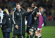 Kieran Read of the All Blacks and Samuel Whitelock of the All Blacks share a laugh after the third rugby test between the All Blacks and England played at Waikato Stadium in Hamilton during the Steinlager Series - All Blacks v England, Hamiton, 21 June 2014<br />