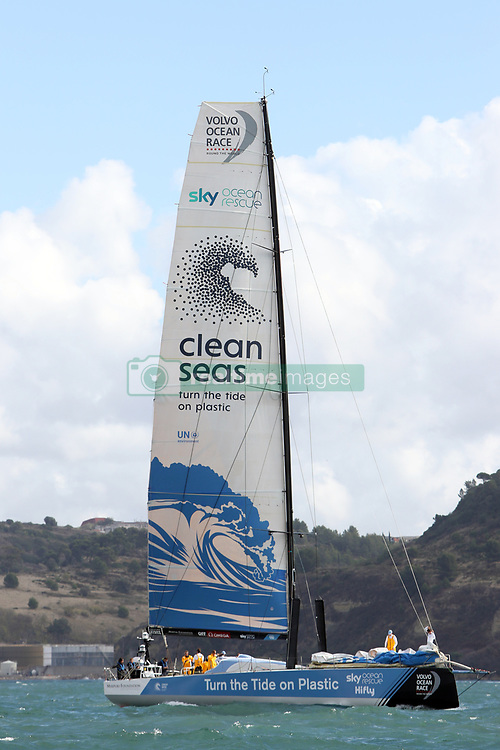 November 3, 2017 - Lisbon, Portugal - Turn the Tide on Plastic team captained by Britain Dee Caffari in action during the Volvo Ocean Race 2017-2018 In-port Race at the Tagus River in Lisbon, Portugal on November 3, 2017. (Credit Image: © Pedro Fiuza/NurPhoto via ZUMA Press)