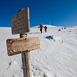 Winter hikers near the summit of Mount Washington in New Hampshire's White Mountains.