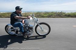 Bill Dodge riding his custom 1952 Harley-Davidson (John Green) Panhead south of Flagler Beach during Daytona Beach Bike Week 2015. FL, USA. March 13, 2015. Photography ©2015 Michael Lichter.