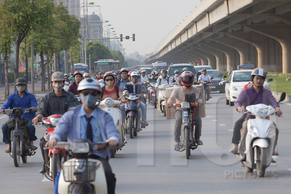 Busy traffic along the highway network in My Dinh, Hanoi, Vietnam, Southeast Asia