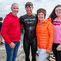 Fastest swimmer Ryan Shannon with his familyJoe,  Kathleen and Emma at the Annual Pat Conway and friends Charity Swim from Lahinch to Liscannor Pier in aid of the Burren Chernobyl Project