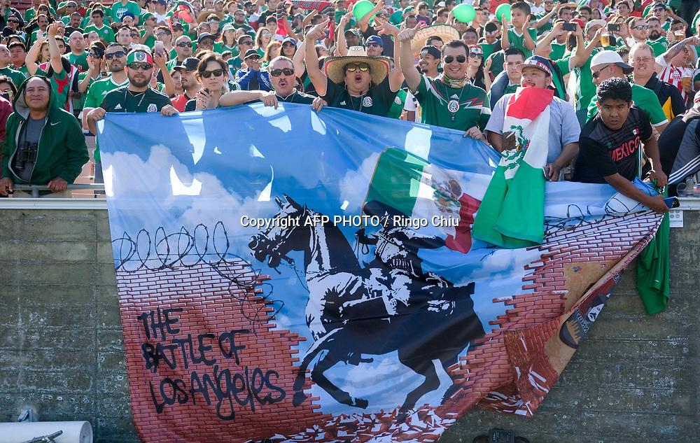 Mexico fan in an international friendly soccer game against Croatia at LA Memorial Coliseum on May 27, 2017 in Los Angeles, California. Croatia won 2-1.  AFP PHOTO / Ringo Chiu