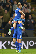 Jamie Vardy of Leicester city (9) celebrates with Marc Albrighton after he scores Leicester City's second goal . Premier league match, Leicester City v Sunderland at the King Power Stadium in Leicester, Leicestershire on Tuesday 4th April 2017.<br /> pic by Bradley Collyer, Andrew Orchard sports photography.