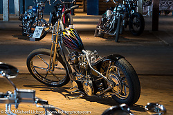 Donny Loos custom 1949 Harley-Davidson chopper during setup day for the Mama Tried Bike Show. Milwaukee, WI, USA. Friday, February 17, 2017. Photography ©2017 Michael Lichter.