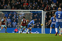 Football - 2017 / 2018 Premier League - Brighton and Hove Albion vs. Burnley<br /> <br /> Anthony Knockaert of Brighton strike hits the post during the first half at The Amex Stadium Brighton <br /> <br /> COLORSPORT/SHAUN BOGGUST