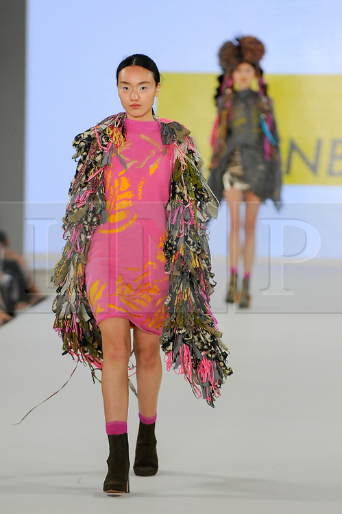 © Licensed to London News Pictures. 05/06/2017. London, UK. A model presents a look by Kelly Allenberger from The Arts University Bournemouth on the second day of Graduate Fashion Week taking place at the Old Truman Brewery in East London.  The event showcases the graduation show of up and coming fashion designers from UK and international universities. Photo credit : Stephen Chung/LNP