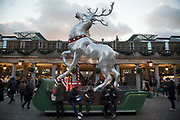 Large scale Reindeer Christmas decorations in Covent Garden London, England, United Kingdom.