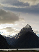 Sunset view of Mitre Peak from Milford Sound; Fiordland National Park, New Zealand