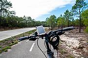 The Eurovelo 1 Atlantic coast route Near Nazare in central  Portugal. This cycling path runs along the Atlantic ocean