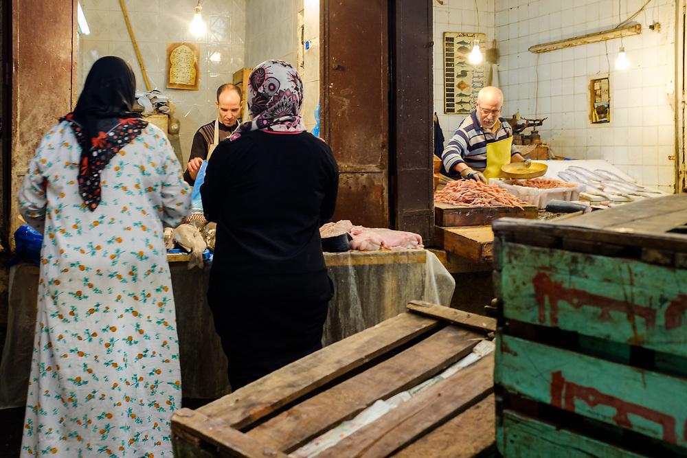FEZ, MOROCCO - CIRCA APRIL 2017:  Moroccan women at the Medina in Fez.