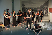 Performance to Sculpture a performance by Anglo-French artist Alice. Anderson (Riflemaker, ), Art13 London First night, Olympia Grand Hall, London. 28 February 2013