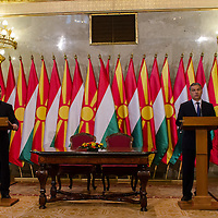 Nikola Gruevski (L) Prime Minister of Macedonia and his counterpart Viktor Orban (R) talk during a press conference in Budapest, Hungary on November 14, 2012. ATTILA VOLGYI