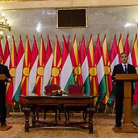 Nikola Gruevski (L) Prime Minister of Macedonia and his counterpart Viktor Orban (R) talk during a press conference in Budapest, Hungary on November 14, 2012. ATTILA VOLGYI