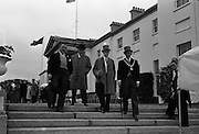 President John F. Kennedy attends a Garden Party at Aras an Uachtarain.  Pictured (l-r) are J. Gallagher T.D., Sligo-Leitrim, Cahir Healy M.P., Joseph Stewart. leader of the Nationist Opposition at Stormont and Alderman Jones Gannon, Mayor of Sligo..27.06.1963
